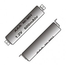 Rechargeable NiMH Battery AAA 1.2V 600mAh with Solder Tabs (each)