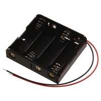 Battery Holder AA x4 Black with Wires [4Lxx]