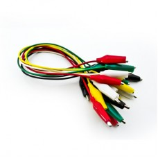Set with 10 cables 42cm 5 colours with booted crocodile clips