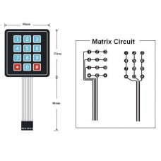 Membrane Keypad 3X4 Matrix 12 Buttons